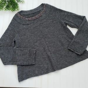 Knitted & Knotted   Anthro Gray Beaded Sweater